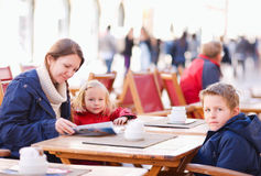 Family at outdoor cafe Royalty Free Stock Image
