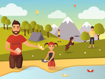 Family outdoor games vector illustration in flat style. Vector illustration of father and daughter playing with paper boats on bank of river or lake. Family Stock Photos