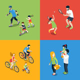 Family outdoor sports play parenting flat 3d isometric vector. Flat 3d isometric high quality family outdoor sports play parenting time icon set. Mom daughter Royalty Free Stock Images