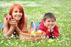 Family outdoors Stock Image