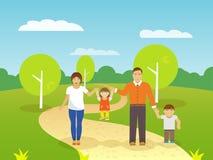 Family Outdoors Illustration Royalty Free Stock Photo