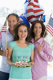 Family Outdoors On Fourth Of July With Flags