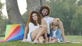 Family outdoors in the park. Slow motion video stock footage