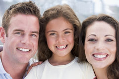 Family outdoors smiling Stock Photo