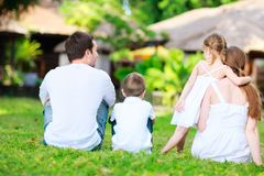 Family outdoors on summer day Stock Image