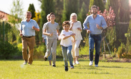 Family outdoors stock images