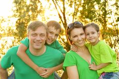 Family outdoors walking outdoors Stock Images