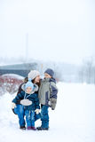 Family outdoors at winter Royalty Free Stock Photos