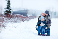 Family outdoors at winter Stock Photo