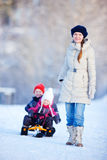 Family outdoors at winter Stock Image