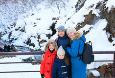 Family outdoors on a winter day Royalty Free Stock Photography