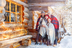Family outdoors on winter Stock Image