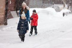 Family outdoors at winter Stock Photos
