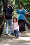 Family Outdoors on a Wooden Foot Bridge (1) Royalty Free Stock Images
