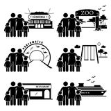 Family Outing Activities Clipart. A set of human pictogram representing family outing and activities at various places (cinema, zoo, underwater theme park Stock Photo