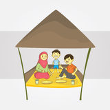 Family outing. Asian family outing suitable for stock illustration for your promotional media Stock Images