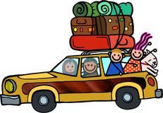 Family Outing Happy Doodle Cartoon. A fun cartoon doodle of a family packed into a station wagon as they set of for a road trip Royalty Free Stock Photos