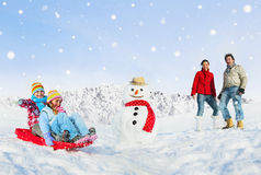 Family Outings Out In Snow Royalty Free Stock Photo