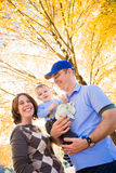 Family Outside in the Fall Stock Photography