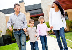 Family outside home Royalty Free Stock Image