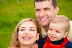 Family outside in summer closeup Stock Photo