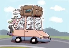 Family in a overloaded car ready for holiday time. Cartoon stily illustration of a numerous family in a overloaded car with suitcase and people ready for holiday Stock Photos