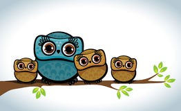 Family of owls. Royalty Free Stock Images