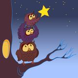 Family of owls, the concept of dreaming, illustration stock photo