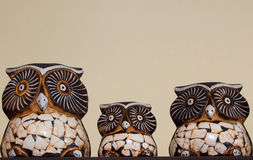 Family of Owls in a decorative masterpiece. Owl family as an interior decorative masterpiece for personal use Stock Image