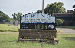 Ewing Moving and Storage Sign, Memphis, TN. Family-owned & operated Memphis-based moving and storage company. We have offices in both Memphis and Nashville royalty free stock photography