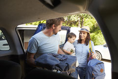 Family Packing Car Ready For Summer Vacation stock image