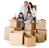 Family packing for moving Stock Photography