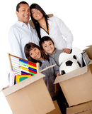 Family packing for moving Royalty Free Stock Photography