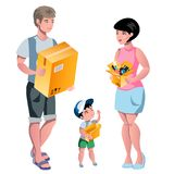 Family packing their stuff and prepare for relocation. Royalty Free Stock Image