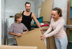 Family packing things Royalty Free Stock Image