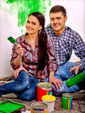 Family paint wall at her home Royalty Free Stock Photo