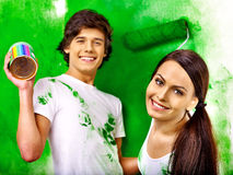 Family paint wall at home. Stock Image