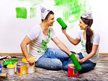 Family paint wall at home. Royalty Free Stock Image