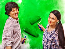 Family paint wall at home. Royalty Free Stock Photos