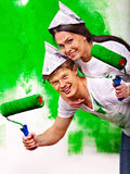 Family paint wall at home. Royalty Free Stock Photography