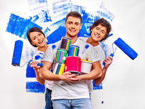 Family paint wall at home Royalty Free Stock Image