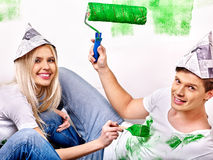 Family paint wall at home Royalty Free Stock Images