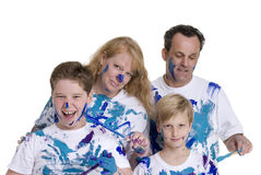 Family Painting. A family group of four, parents and boys. Growing up, childhood, parenting Stock Photography