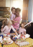 Family painting Easter eggs Royalty Free Stock Images