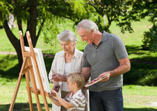 Family painting in the garden Stock Image
