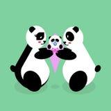 Family panda bears with a newborn baby. Royalty Free Stock Photo