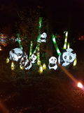 Family of panda lamps  in the park Stock Image