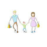Family Parent With Son Holding Shopping Stock Photography
