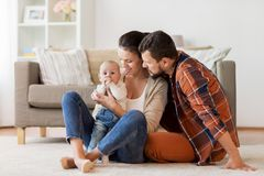Happy family with baby having fun at home Royalty Free Stock Photography