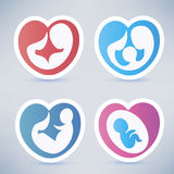 Family and parenting abstract symbols. Stickers collection in heart shape Royalty Free Stock Photo